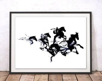 Black Horses Print, Horses Wall Decor, Horses Art Print, Pony Art, Horse Painting Illustration, Horse Home Decor, Framed or Unframed Gift