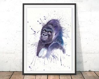 Gorilla Painting, Gorilla Poster, Gorilla Wall Art, Gorilla Art Print, Purple Gorilla Print, Gorilla Watercolor Home Decor, Giclee Art Print
