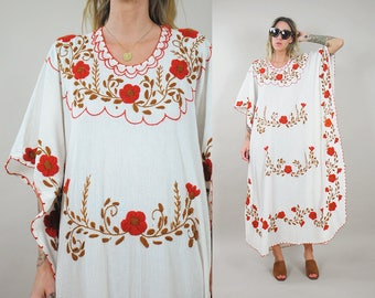 70's Embroidered Caftan Dress