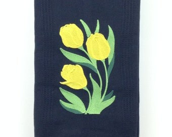 Large Yellow Tulips Embroidered Bamboo Hand Towel - Black