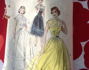 1950s 50s Full Skirt Day Evening Dress Collar Original Vintage Sewing Pattern Butterick 5776 Bust 32 XS