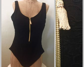 Vintage Textured One Piece Black Swimsuit With Gold Zip Up Size 14
