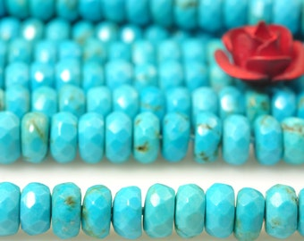 15 inches of Turquoise faceted rondelle beads in 2x4mm