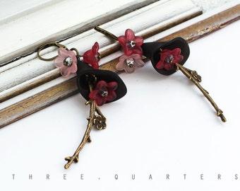 Earrings, cherry blossoms, black, wine red, vintage, dark red, Japan, antique, bronze, nostalgic, boho, pink, elegant, wedding, bohemian