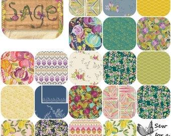 Fat Eighth Bundle(20) SAGE by Bari J for Art Gallery Fabrics