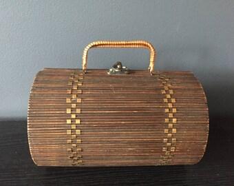 Vintage wicker cylinder handbag