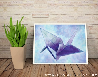 Paper Crane Print | Giclee Print | Wall Decor | Digital Watercolor Art | 80% Of Profits Go To Planned Parenthood!
