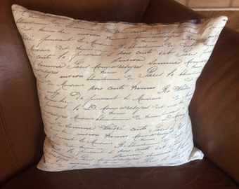 Pillow cover, french writing pillow cover. tan pillow. decorative pillow cover. accent pillows. throw pillows. shams. cushion covers.