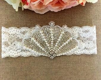 Wedding Garter - Bridal Garter - Crystal Rhinestone and Pearl Garter