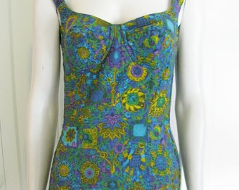 Vintage 50's Cotton  Swimsuit - 1950's Novelty Print Playsuit - Size Small