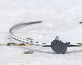 Black Cat 925 Silver, bottom open cuff Bangle, cat, silver jewellery for cat lovers, cat fan
