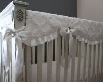Ivory Lattice with Ivory Embossed Vine - Reversible Rail Guard Cover with Ivory Satin Ruffle and Ties - Crib Bedding, Bumperless