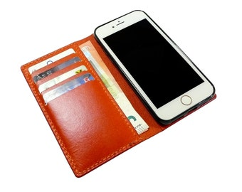 Leather iPhone 7 Case  wallet - Leather iPhone 7 Wallet- Personalized iPhone 7 Plus case