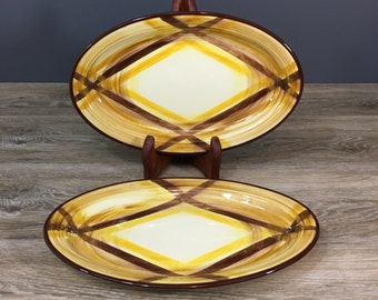 """Vernonware Organdie Oval Serving Platters, Yellow Plaid Pattern, TWO 10.5"""", Vintage California Pottery"""
