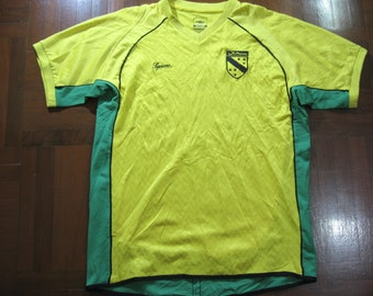 Vintage 1990s Authentic Rare Supreme x Umbro Arabic Football Shirt Soccer Jersey Series Yellow T shirt Top Men L