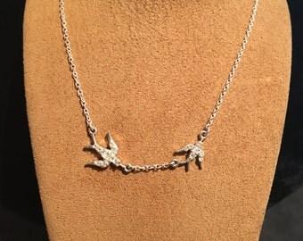Dual Diamond Dove Silver Necklace