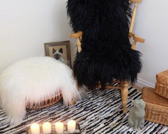 Icelandic Sheepskin Patchwork Rug Black 60x160 cm   Amazing Softnes Best Quality   Genuine Leather - Large   Free UK Delivery