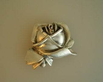 Vintage Sterling Silver 3D ROSE  925 hand made Pendant and/or Brooch pin