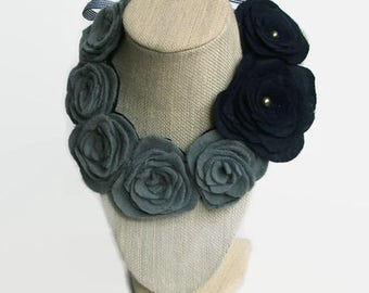 Gray and Navy Felt Necklace, Flower Necklace, Navy Jewelry, Gray Necklace, Non Metal Necklace, Felt Flower Accessories, Gifts for Her