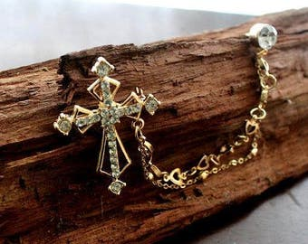 Men's jewelery, Suit revers, pin, cross and rhinestone, gold-plated