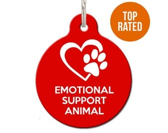 Emotional Support Dog, Emotional Support Cat, Emotional Support Animal Pet ID Tag, ESA | FREE Personalization