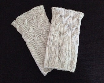 Knit Boot Cuffs, Boot Toppers, Off-White Cabled/ Ribbed Boot Cuffs, Leg Warmers, 2-Styles In One