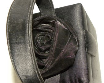 1980s FIORUCCI Italy Box Purse / Black Satin with Rosette / Small top handle evening bag