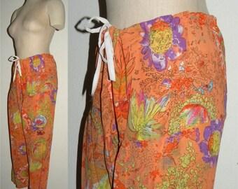 Vintage Sari Pants Harem Pants / drawstring waist / Orange Floral semi sheer / Festival / Tribal / Bohemian BOHO