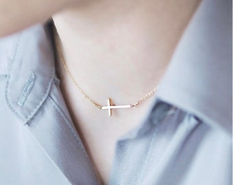 Gold Cross Necklace, Gold Side Cross Necklace, Gold Cross Necklace, Sideways Cross, Cross Necklace, Sideways Cross Necklace Gold
