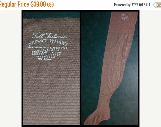 "30% OFF Vintage 3 Pr Seamed Nylon Stockings 11 X 34"" 8.5"" Wide Welt Outsize Taupe"