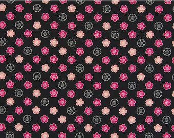Petite Cherry Blossoms: Black Asian Japanese Fabric (1/2 Yd Increments)