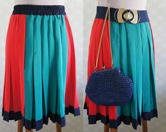 Vintage Color block pleated skirt. Small size silk pleated skirt.