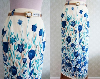 Vintage Midi silk skirt. High waisted midi skirt. Pale yellow skirt small size.