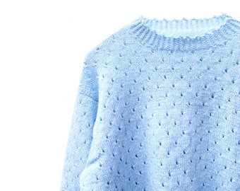 Vintage Baby Blue Jumper - Hand Knitted - Small