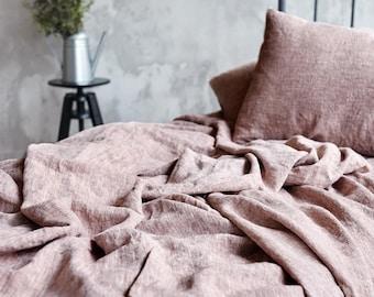 Linen FLAT SHEET   Queen King top linen sheet   Rose brown color