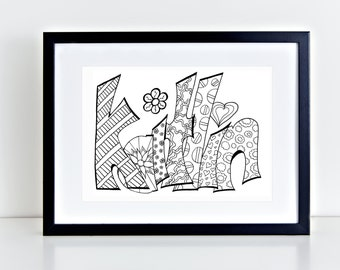 Color Your Name - KAITLIN-Printable coloring pages for kids and adults.  Use for rainy day activity,turn into wall art,use your imagination!
