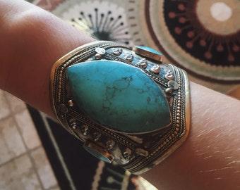 Turquoise Brass Cuff