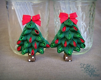 Layered Christmas Tree Ribbon Sculpture Hair Bow, Festive Hair Clip, Holiday Accessory