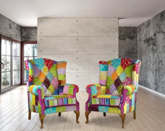 Pair of patchwork chairs in Designers Guild velvet