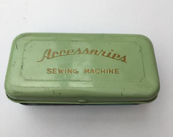 Vintage Sewing Tin, Sewing Machine Accessories Tin, Vintage Sewing Machine, 1960's Accessories Tin, Vintage Haberdashery
