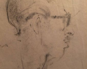 The Professor, Original pencil sketch on delicate paper from 1950.  By D. Messenger