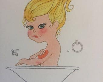 TUB GIRL - Girl in Bathtub - by D. Messenger, cute card type print - about 1975.   Free shipping in US
