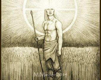 Lugh PRINT, Celtic god Lugh art, solar deity, sun god art, solar wheel, sun wheel, Irish myth illustration, Lughnasadh, Lamfada warrior hero