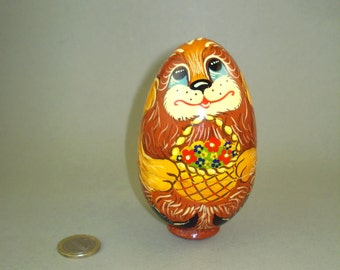 Rare & Vintage old Hand painted Russian Nesting Wooden Egg Doll with Dog