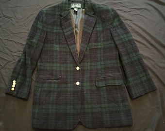 Vintage Womens Lauren Ralph Lauren Plaid Wool Blazer Jacket Coat Sz 12