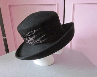 """1990s Black Floppy Brim Wool Felt Hat by """"SCALA"""""""