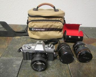 vintage MINOLTA X-370  film Camera with 2 extra lenses and Tamrac camera Case **Vivitar 20mm  , 12mm , AT-5 36mm & rokkor-x 1:3.5  50mm lens