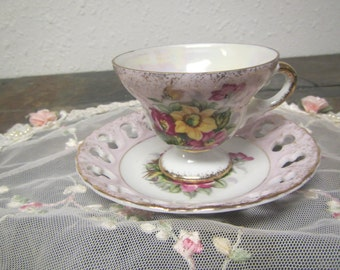 Enesco  Japan TEA CUP and SAUCER set ** purple and yellow flower design