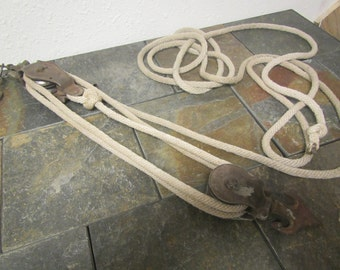 Vintage Fence Stretcher, Wire Stretcher, Block and Tackle , Double Pulleys, Farm & Ranch Tool