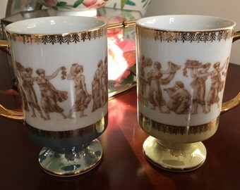 Vintage Lusterware Pair of Royal Crown Arnart Teal and Yellow Greek Classic Gods and Goddesses